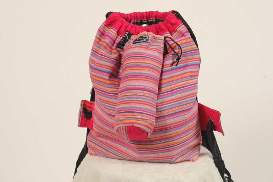 """KENYAN MADE - Hot Pink Striped Backpack & Water Bottle Holder-small zipped area inside-15"""" wide x 19"""" tall-yellow stripes at drawstring top by OperationGiveHope on Etsy"""