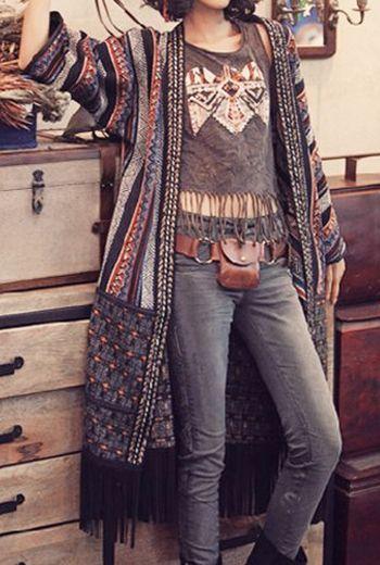 Vintage Color Block Striped Tassel Hem Coat For Women ...