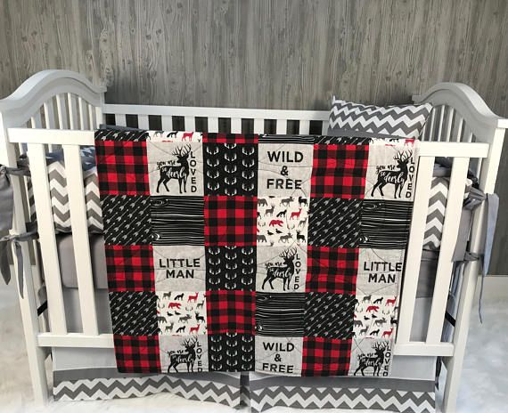 Baby Boy Nursery Set Toddler Blanket Buck Arrow Bear Buffalo Plaid Deerly Loved Woodland Bedding Crib