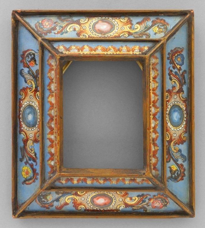 Cornice dorata con vetri in policromia (con immagini