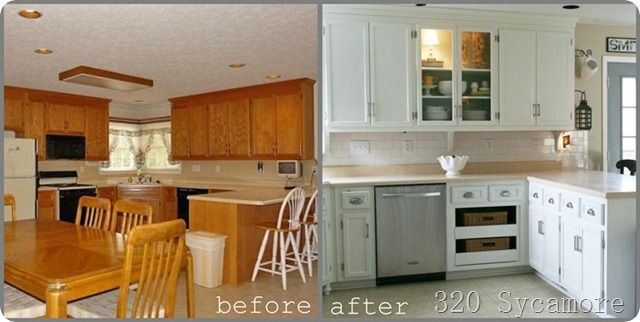Before And After Painted Kitchen Cabinets - cosbelle.com