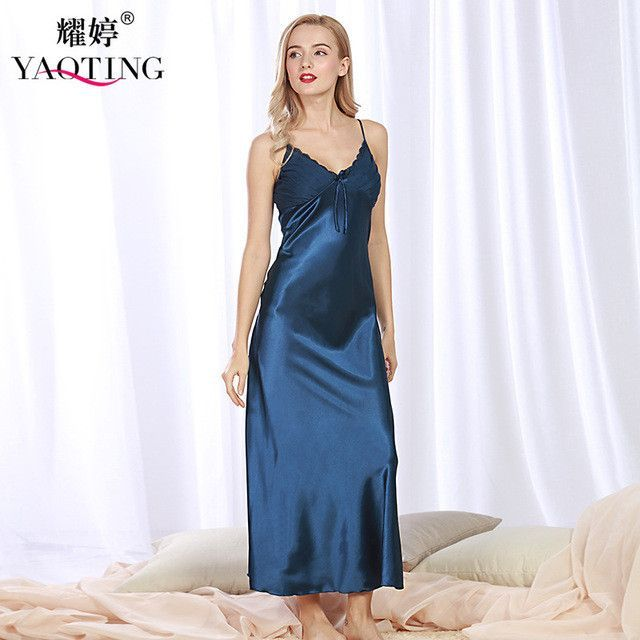 2017 New Brand Robes Set Women Long Nightgown Night Dress Silk Satin Sexy  Nightwear Lace Nightdress Bathrobe Night Gown CQ311 eb7c6e88d