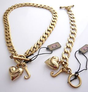 Auth juicy couture gold starter necklace bracelet set aloadofball Gallery