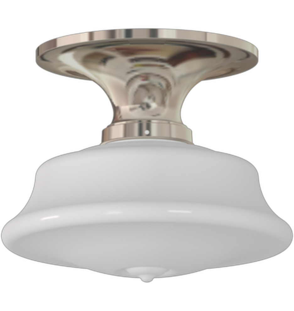 """Rejuvenation.  Miles Copper Flush-Mount Schoolhouse Fixture for outside.  In Polished Nickel finish.  Z019689.  W 13.15"""" x 11.43"""" L 7""""H.  $325.00"""