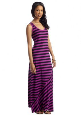 New Directions  Stripe Flare Maxi Dress