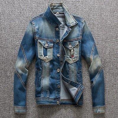 Moda Masculina Slim Quebrado Furos CASACOS DE DENIM Casual Fit jaquetas casacos de Jean