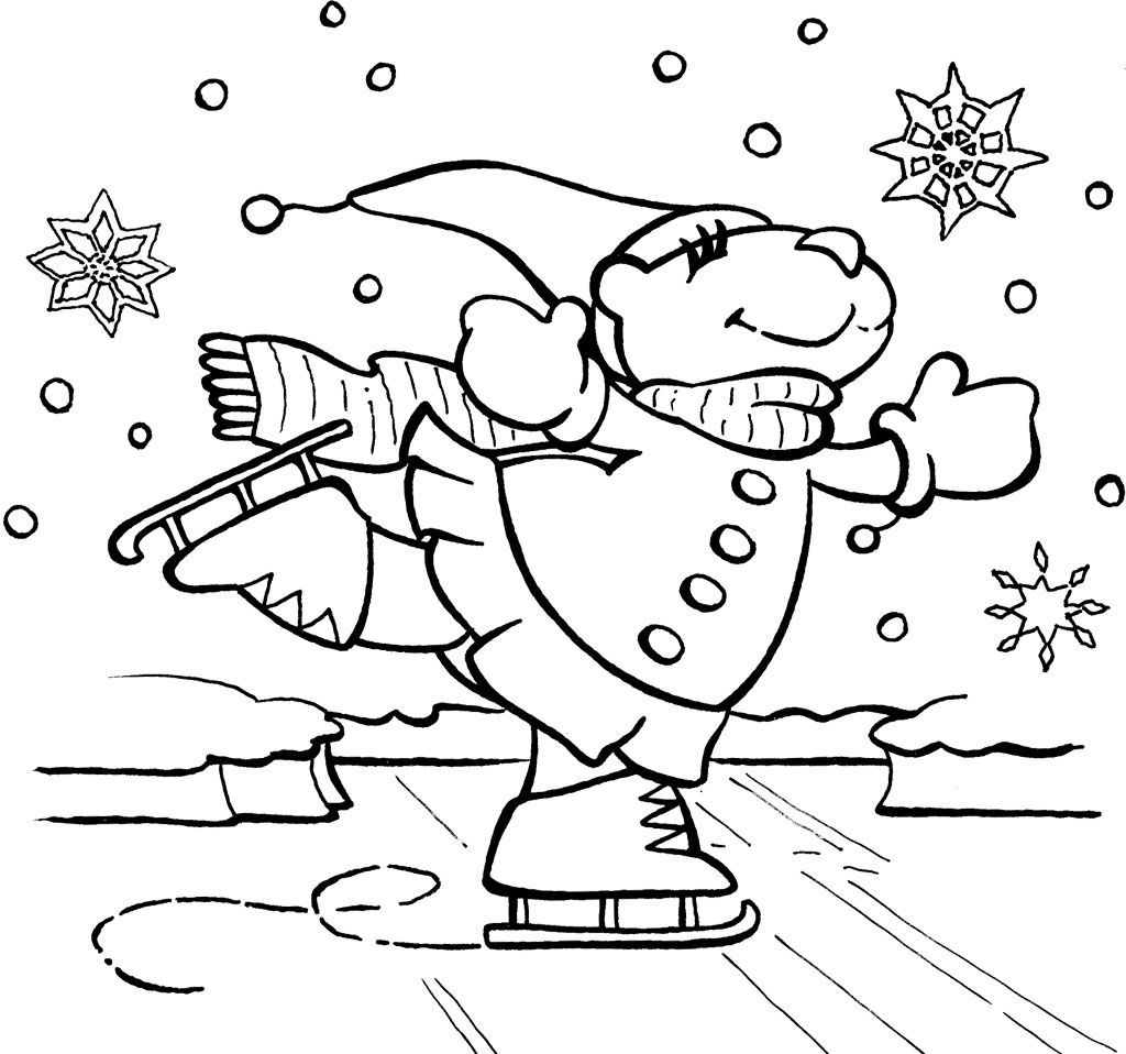 Bear Ice Skating Coloring Page