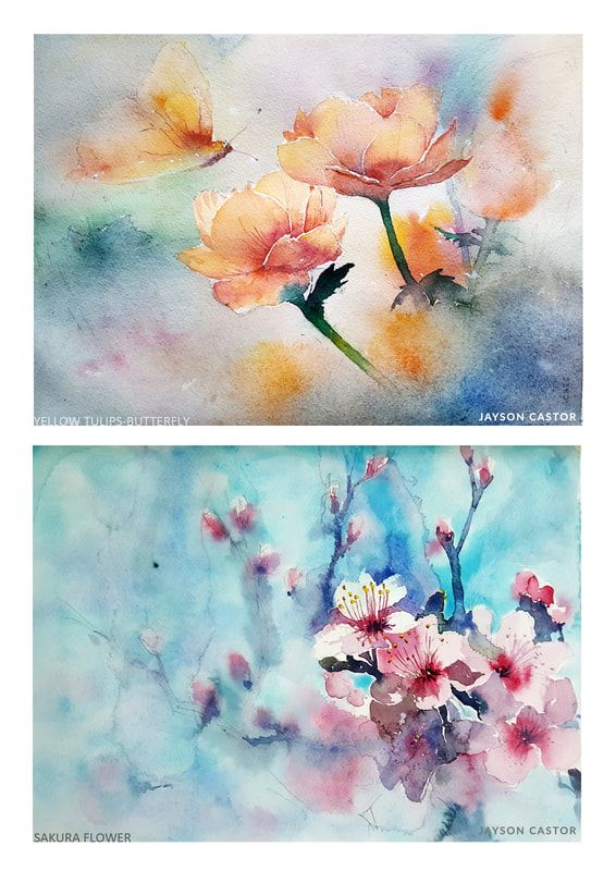 Sakura And Tulip Flowers Watercolour Painting Watercolour