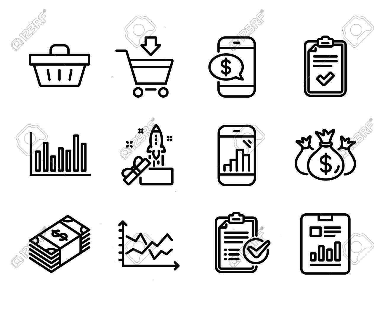 as Shopping basket Check investment Report document Graph phone Checklist Online market Bar diagram Diagram chart Phone payment Survey checklist Vector Set of Finance ico...