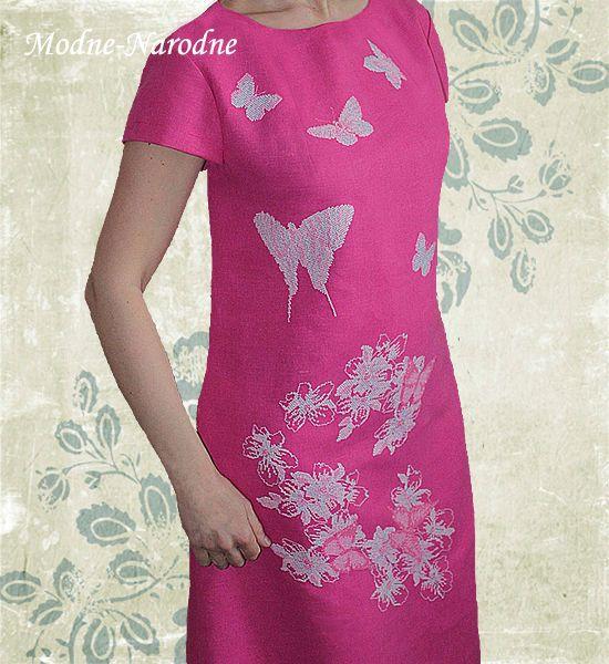 Вышивка бабочек на платье 993