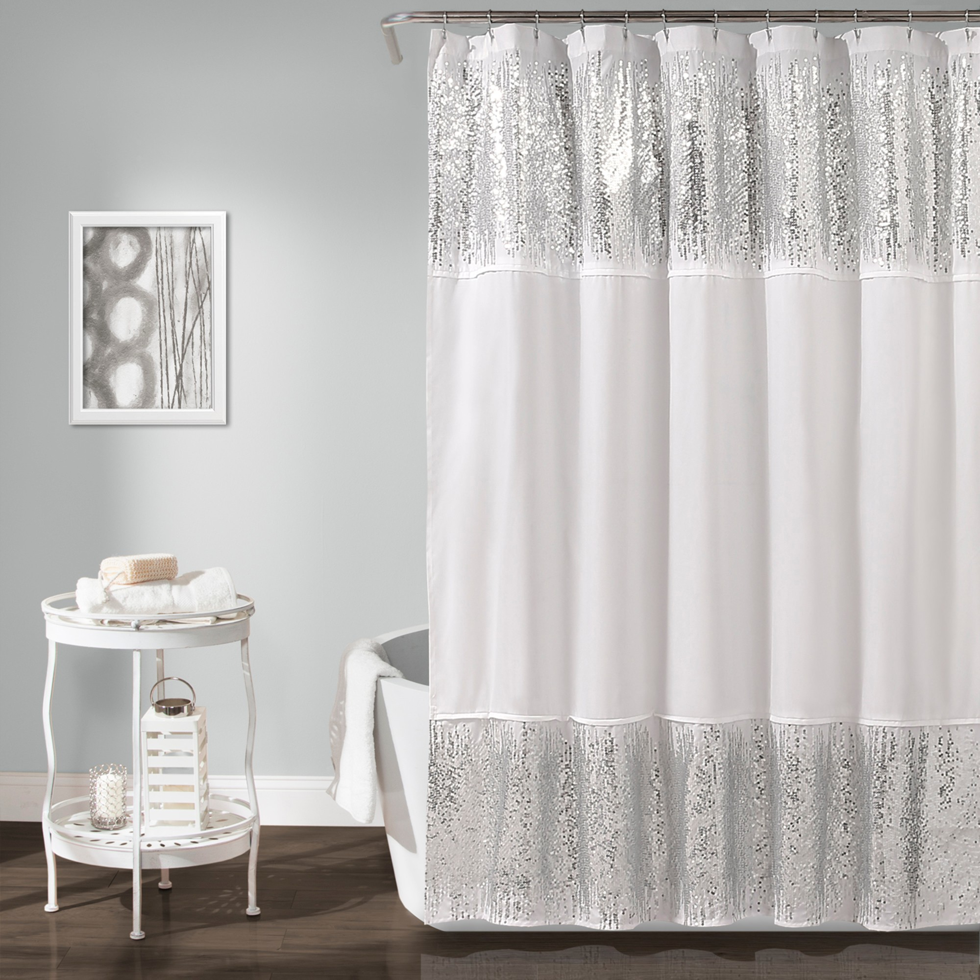 Shimmer Sequins Solid Shower Curtain Silver - Lush Décor | LUSH ...