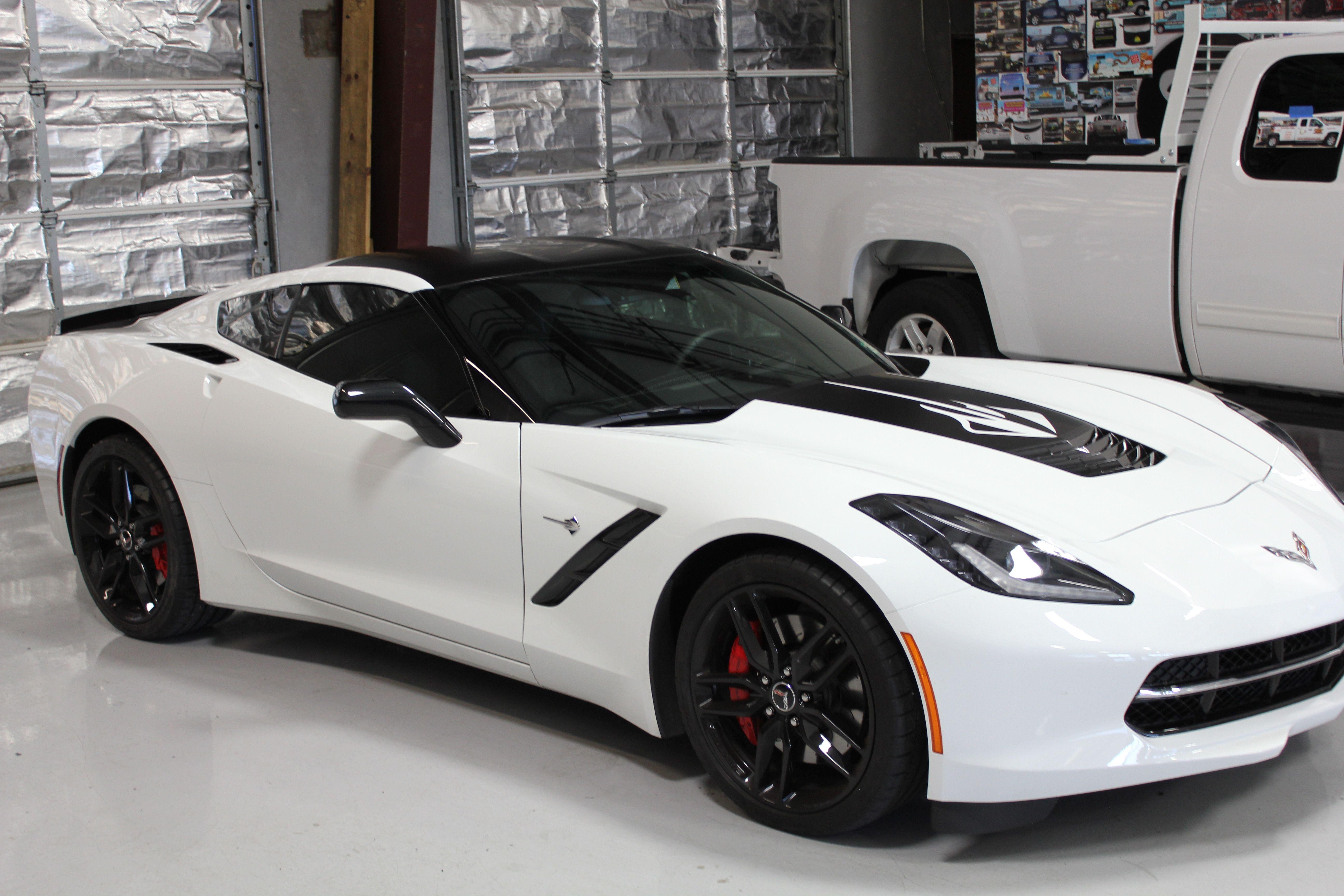 Black and white corvette white corvette black corvette