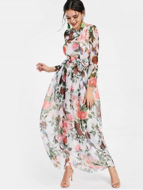 36d80f32e62e Floral Print Long Sleeve Belted Maxi Dress - WHITE L Chiffon Dresses