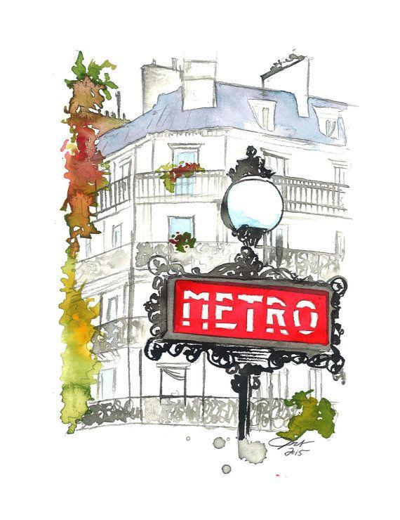 Paris Metro Original Watercolor Painting Illustration