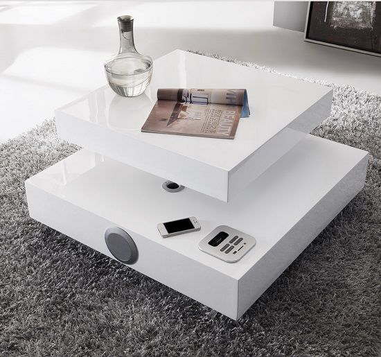 Verona Extendable High Gloss Coffee Table In White: Apples High Gloss Coffee Table In White With Speakers And