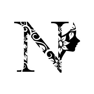 Graphic design of flower clipart black alphabet n with white graphic design of flower clipart black alphabet n with white mightylinksfo