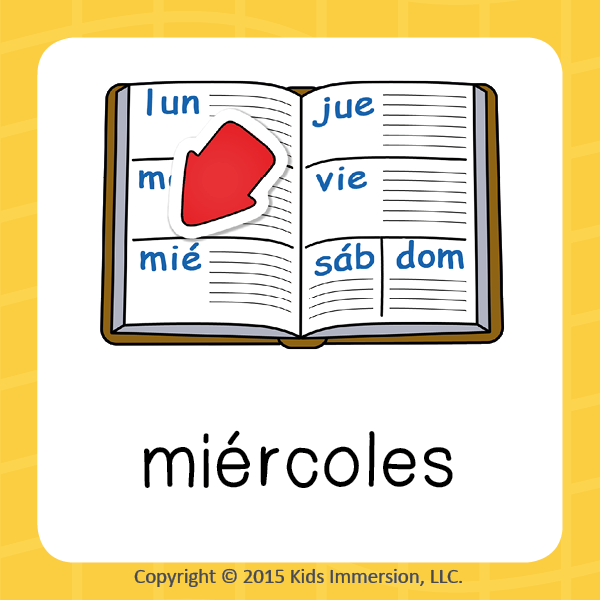 """Here's a fun little word association to help your students remember how to say Wednesday in #Spanish. It's always exciting & a """"miracle"""" to make it to """"miércoles""""~ aka~ the middle of the week! #WordOfTheWeek #elementary #edchat #earlyed #WoW"""