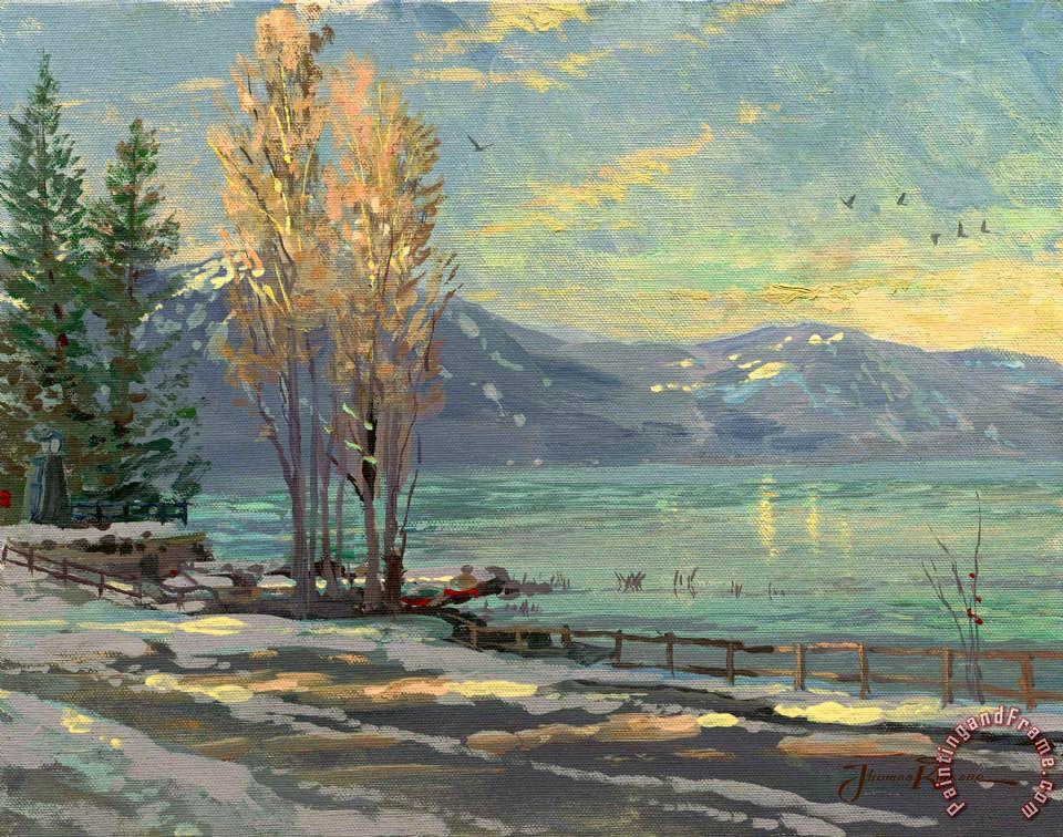 Thomas Kinkade Lake Tahoe Shoreline Winter print for sale Shop for Thomas Kinkade Lake Tahoe Shoreline Winter painting and frame at discount price - lake painting