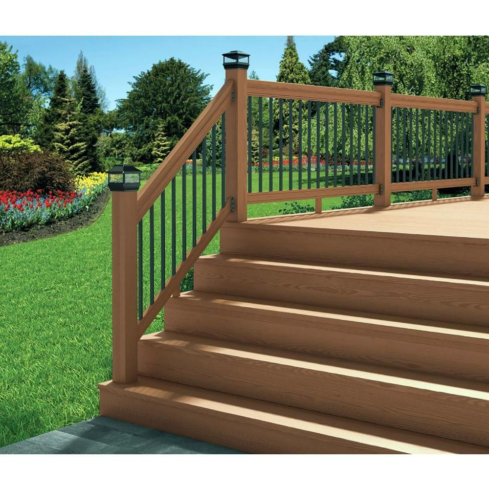 Deckorail 6 Ft Redwood Deck Rail Kit With Black Aluminum Balusters 244623 The Home Depot In 2020 Deck Railings Redwood Decking Deck Railing Kits