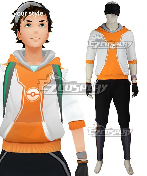 Pokemon Go Pokemon Pocket Monster Trainer Male Orange Cosplay
