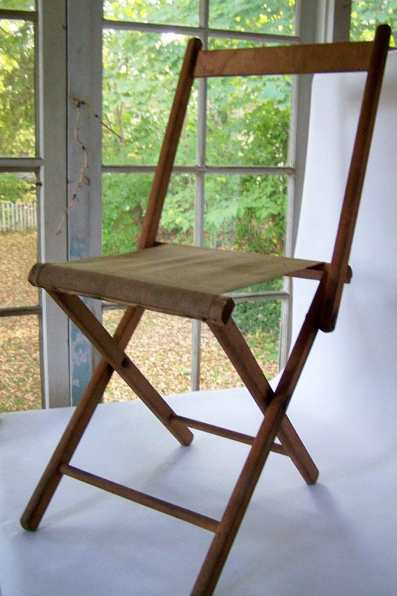 Vintage Wooden Folding Chair Camp Stool Canvas Seat