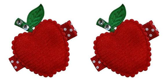 Toddlers and Girls Back to School Apple Hair Clip SET