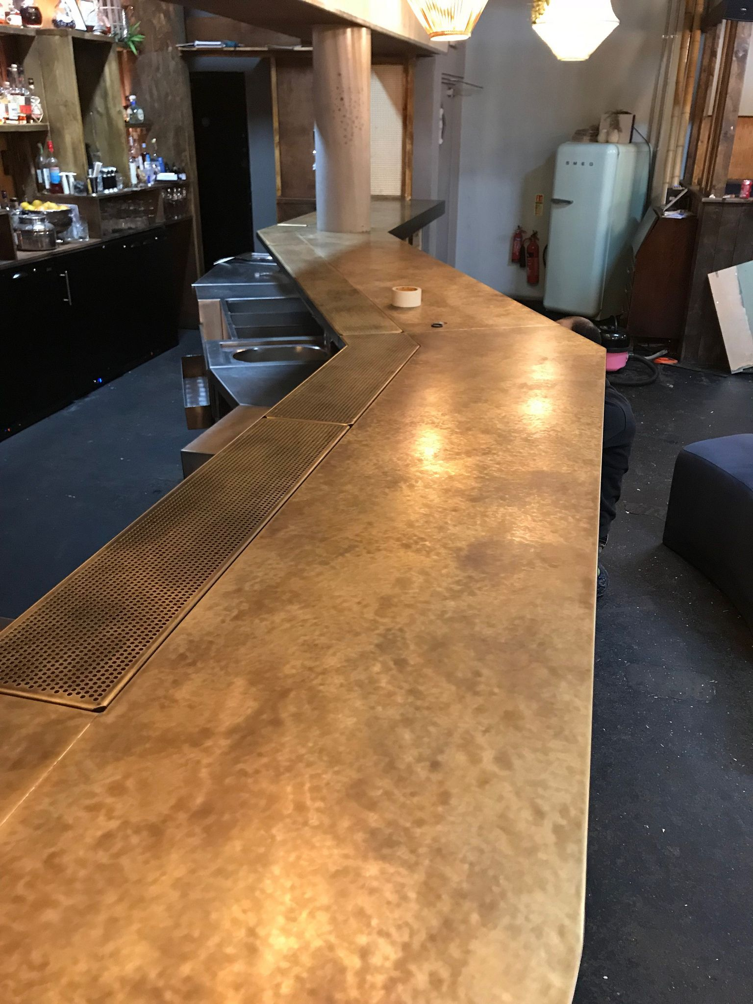 Aged Brass Bar Top With Integrated Brass Drip Tray Bar Design
