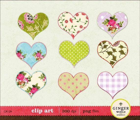 antique vintage love Valentine heart clip art clipart for scrapbooking invites (CA224). $3.00, via Etsy.