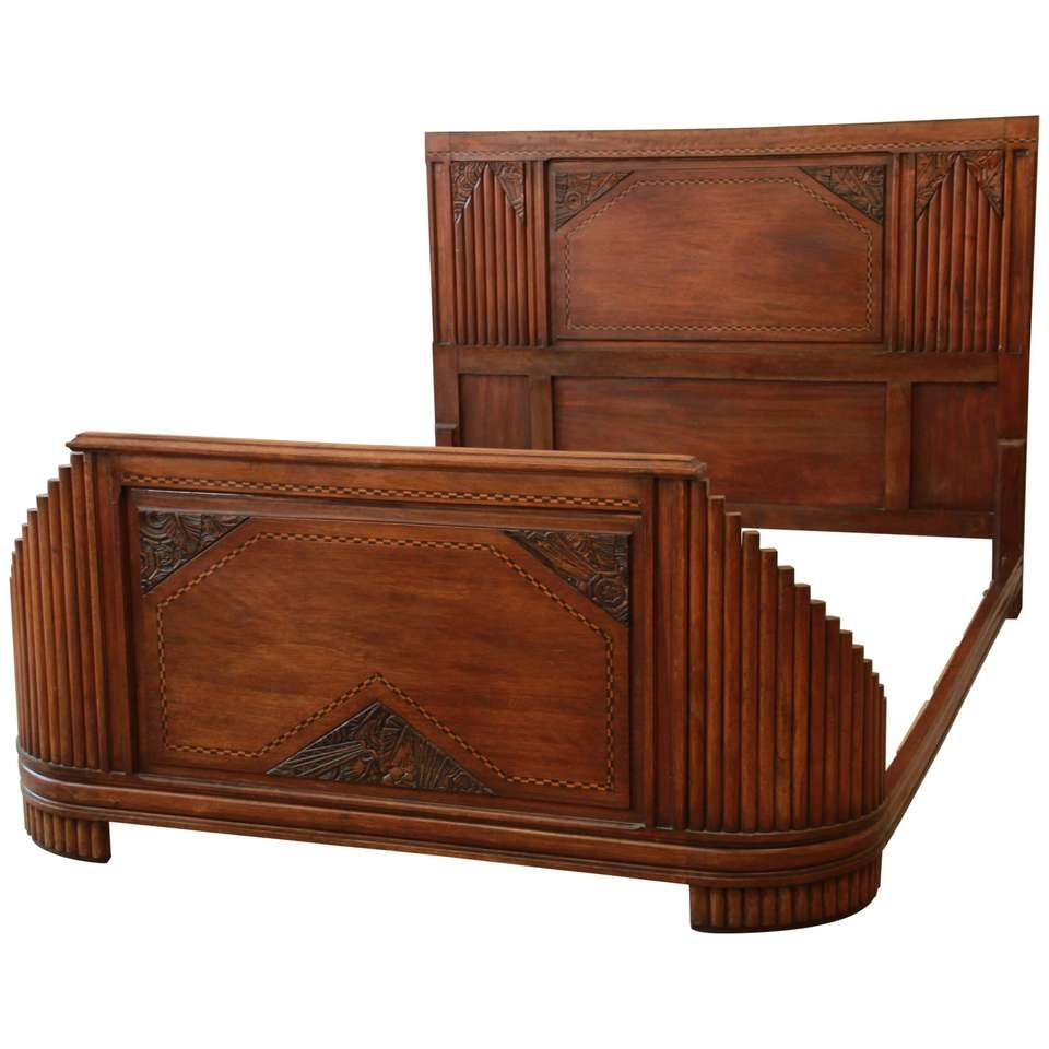 Best 1930S French Art Deco Carved And Inlaid Walnut Full Size 400 x 300
