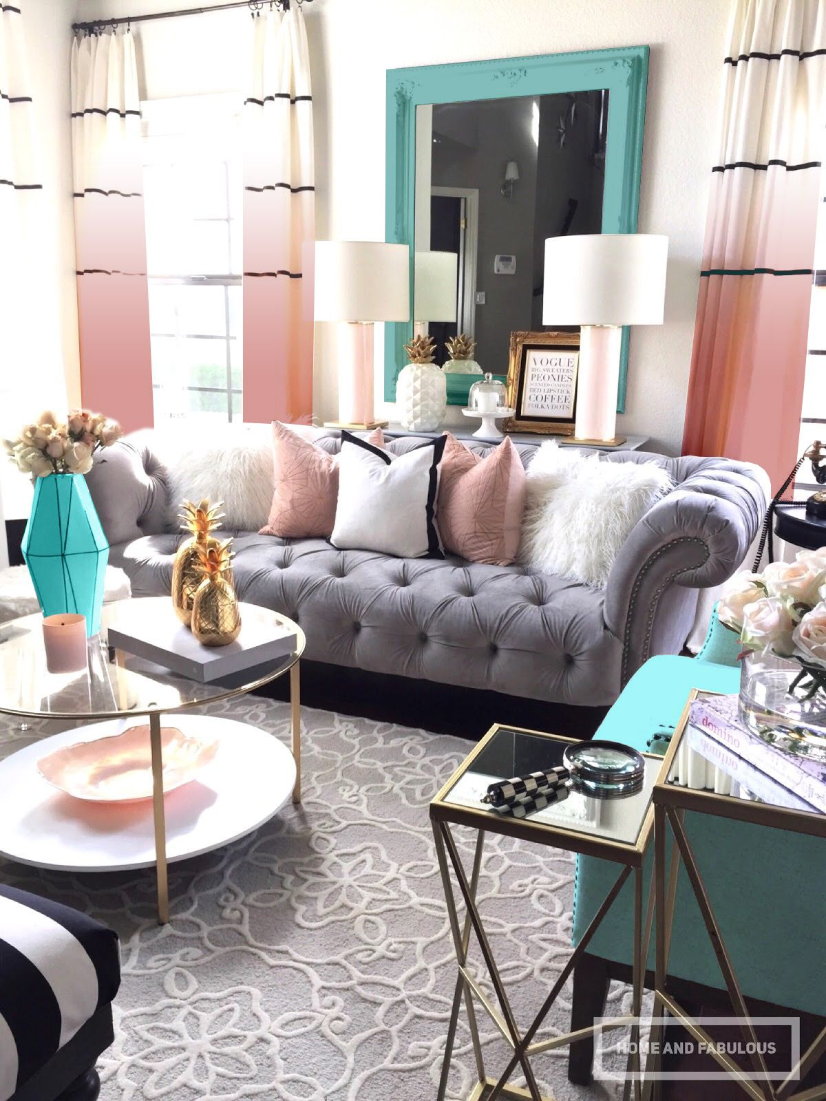 Pink Blush Gray With Aqua Accents Living Room