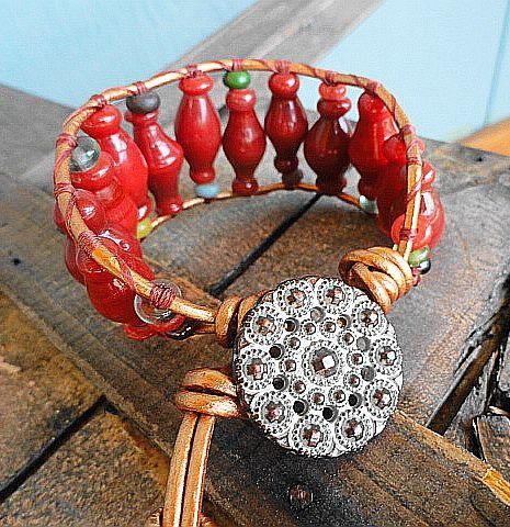 Indonesian Glass Brick Lantern Bead Wide Single Wrap   GemOnAWire - Jewelry on ArtFire