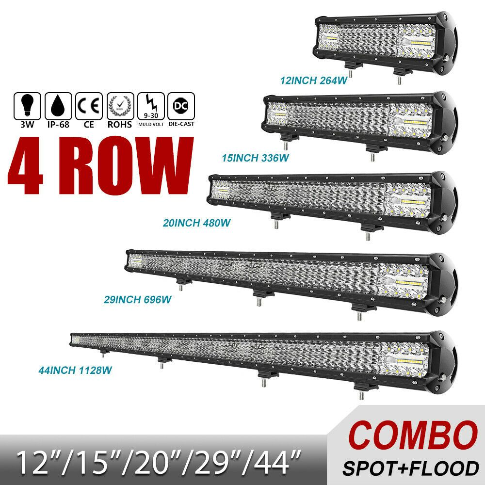 12 15 20 29 44 Led Light Bar 4 Row Combo Led Work Light Offroad Led Bar Ebay Led Work Light Led Light Bar Truck Offroad Led