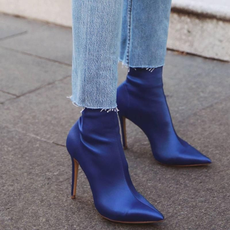 Womens Fashion Pull On Stretchy Booties Pointy Toe Block High Heels Ankle Boots