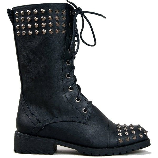 Harley 14 Womens Military Lace up Studded Combat Boot Black