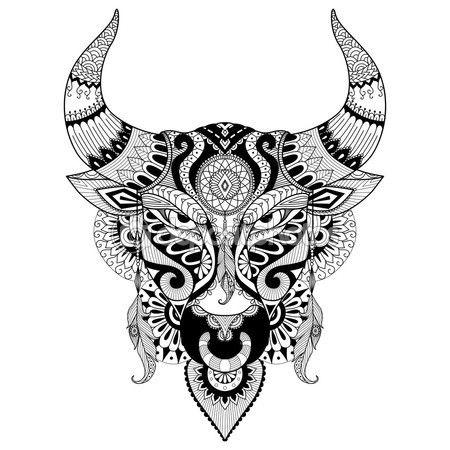 Dibujo de Toro enojado para colorear libro para adultos, tatuaje ...