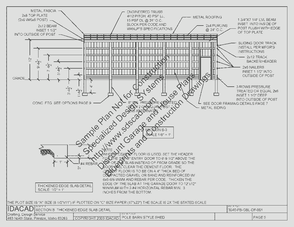 3040PB1 30 x 40 x 12 Pole Barn Plans Blueprints Construction ...