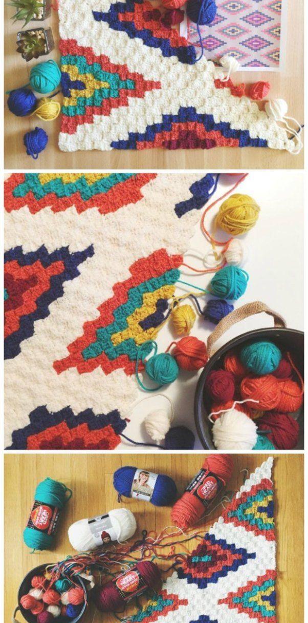 Corner To Corner Crochet Southwestern Afghan Throw Blanket Rgler