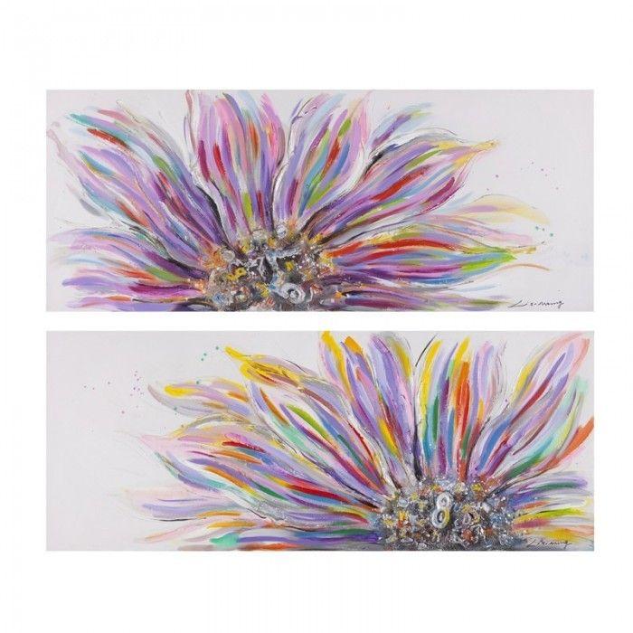 Cuadro abstracto flor d ptico lienzo pintura al leo for Como pintar un cuadro abstracto
