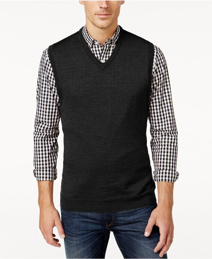 Club Room Men's Big and Tall V-Neck Merino Wool Sweater Vest, Only ...