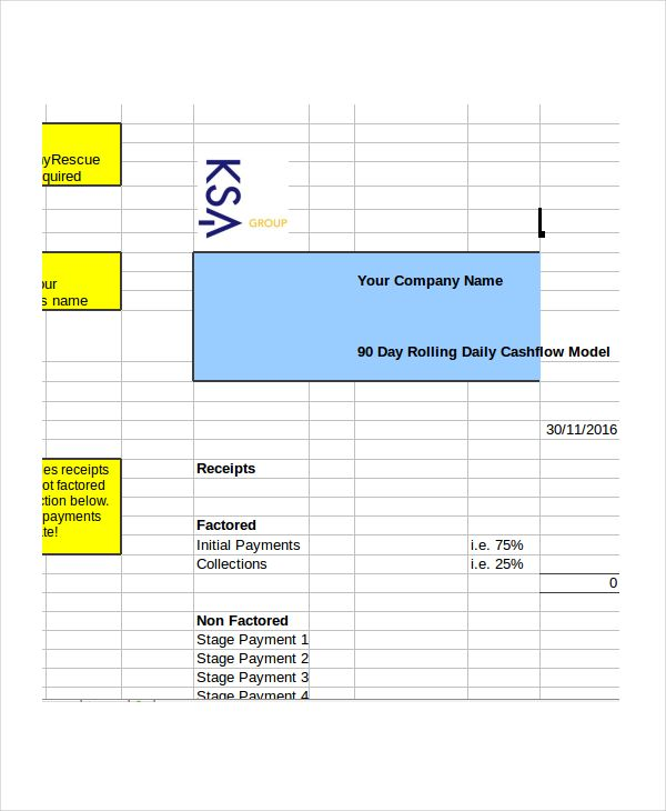 Daily Cash Flow Template Excel , Cash Budget Template , cash - company report template