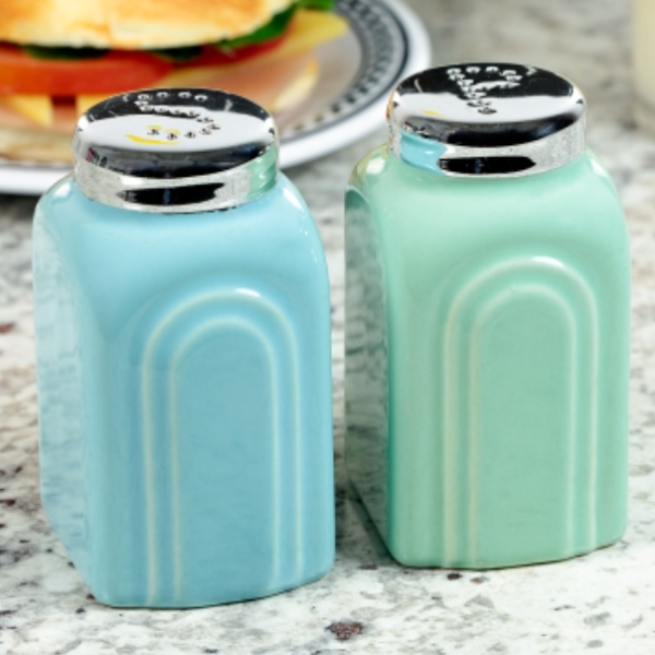 Vintage Style 1950s Salt and Pepper Shakers in Blue and Green