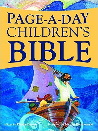 Page-A-Day Children's Bible (preview here: http://store.pauline.org/english/books/productid/4737/sortfield/productname/txtsearch/page-a-day#gsc.tab=0)