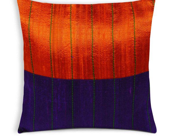 Purple Orange Raw Silk Kantha Decorative Throw Pillow Cover Unique Raw Silk Pillow Covers