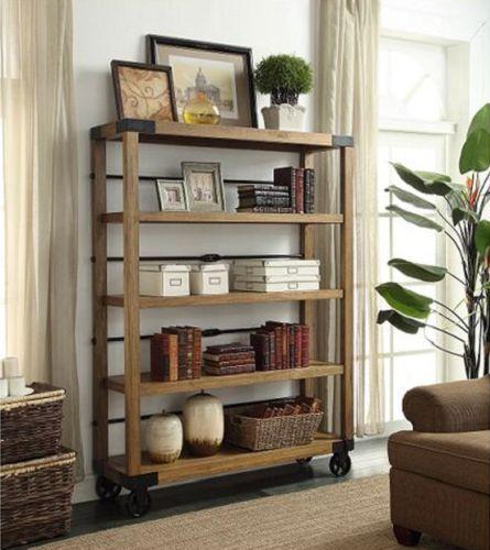 Vintage 5 Tier Portable Bookshelf Display Shelving Storage Bookcase