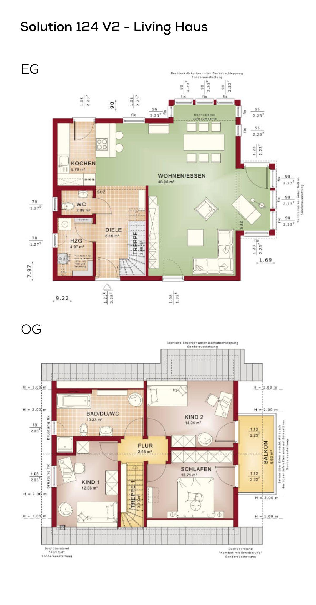 grundrisse einfamilienhaus mit satteldach architektur und erker 4 zimmer 117 qm wohnfl che. Black Bedroom Furniture Sets. Home Design Ideas