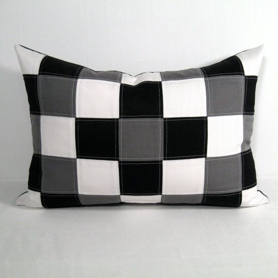 Black White Pillow Cover Grey Color Block Modern Gray Quilt Patchwork Outdoor Colorblock Sunbrella Cushi White Pillow Covers Grey Decor White Pillows