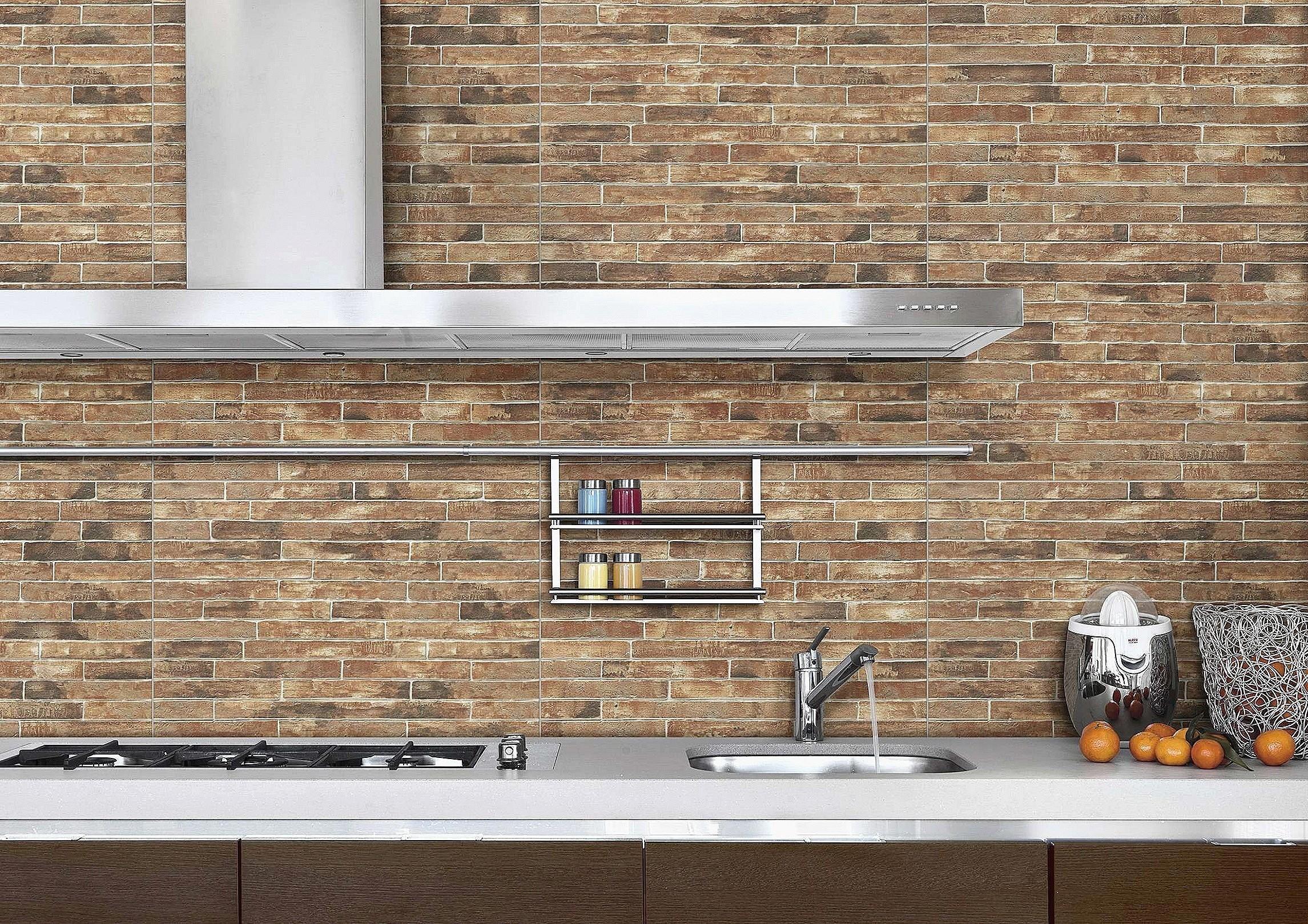 Beautiful Decorating Kitchen Ideas Brick Effect Wall Tiles Red Brick Walls Brick Kitchen
