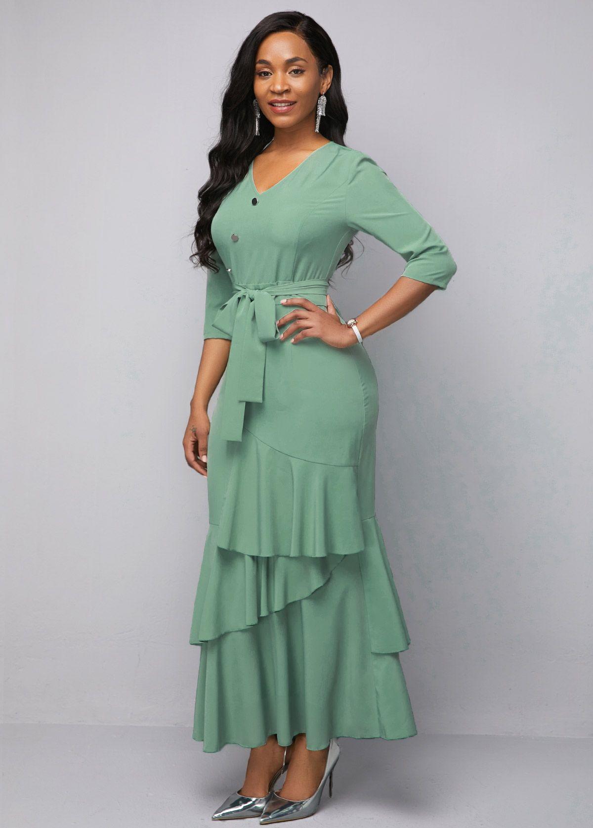 Rotita.com - USD $35.29 in 2020 | Green chiffon dress ...