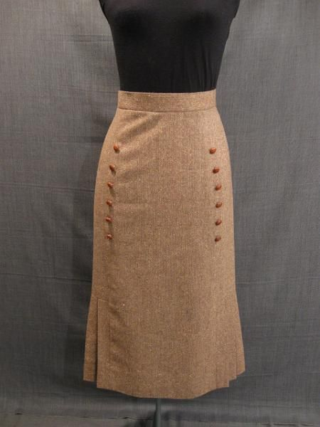 09016410 Skirt Women's 1930s, brown tweed wool, W26.JPG ...