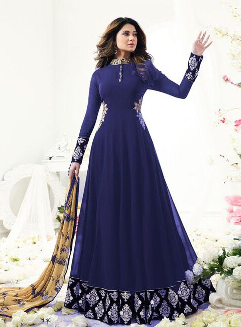 91be08993f Buy Jennifer Winget Navy Blue Georgette Floor Length Anarkali Suit 104240  online at lowest price from